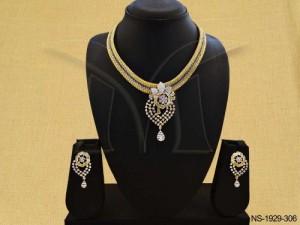 Ad Jewellery , Paan Flower Head Bridal Ad Necklace Set | Manek Ratna