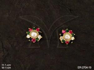 Ad Jewellery , Round Center Flower Ad Earrings | Manek Ratna