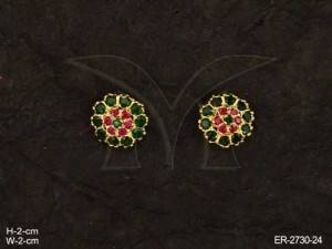 Ad Jewellery with Round Flower Ad Earrings by Manek Ratna
