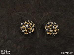 Ad Jewellery , Round Flower Textured Ad Earrings | Manek Ratna