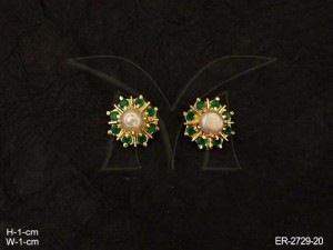 Ad Jewellery with Round Moti Flower Ad Earring by Manek Ratna