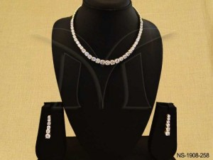 Ad Jewellery , Rounded Square Chained Bollywood Ad Necklace Set | Manek Ratna