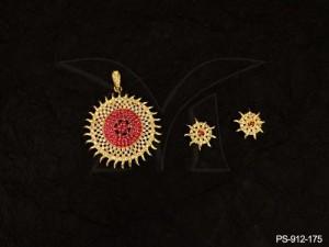 Ad Jewellery , Surya Round Ad Pendant Set | Manek Ratna