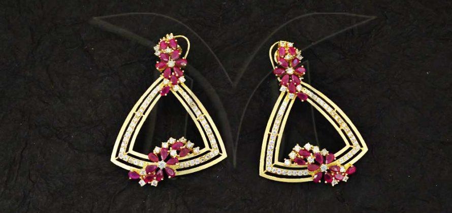 Triangular Polo Shape CZ Earings