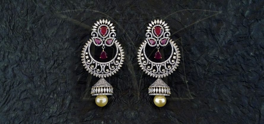American Diamond ChandBali Earrings