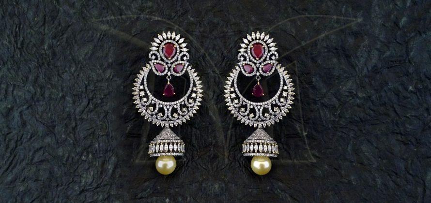 American Diamond ChandBali Earrings