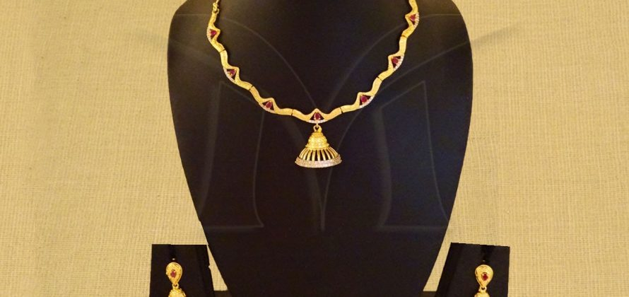 Tricone Party Wear AD Necklace