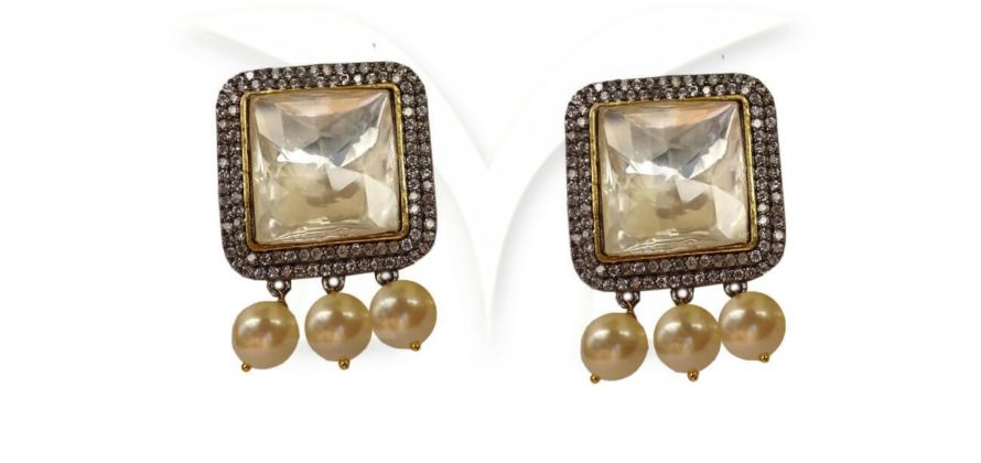 Square Stoned CZ Earrings